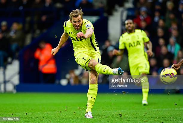 Harry Kane of Spurs scores his team's second goal during the Barclays Premier League match between West Bromwich Albion and Tottenham Hotspur at The...