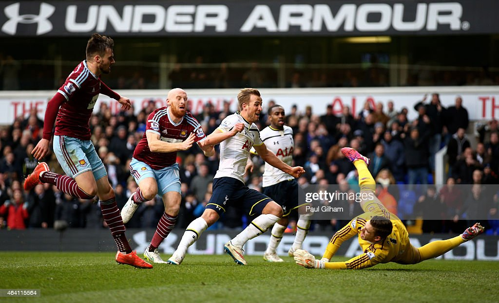 Harry Kane of Spurs scores past goalkeeper Adrian of West Ham from the penalty rebound to level the scores at 2-2 during the Barclays Premier League match between Tottenham Hotspur and West Ham United at White Hart Lane on February 22, 2015 in London, England.
