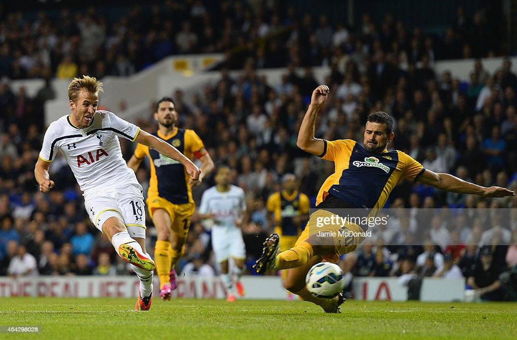 Harry Kane of Spurs scores their first goal during the UEFA Europa League Qualifying Play-Offs Round Second Leg match between Tottenham Hotspur and AEL Limassol FC on August 28, 2014 in London, United Kingdom.