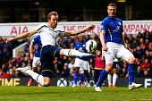 Harry Kane of Spurs shoots at goal during the Barclays Premier League match between Tottenham Hotspur and Leicester City at White Hart Lane on March...