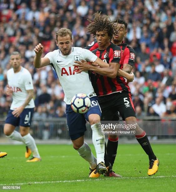 Harry Kane of Tottenham and Nathan Ake of Bournemouth during the Premier League match between Tottenham Hotspur and AFC Bournemouth at Wembley...