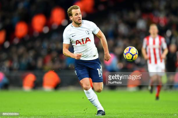 Harry Kane of Tottenham chases down the ball during Premier League match between Tottenham Hotspur against Stoke City at Wembley stadium London...
