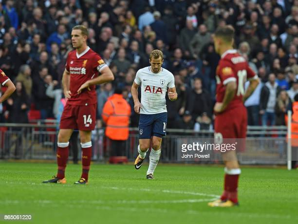 Harry Kane of Tottenham Comes Off during the Premier League match between Tottenham Hotspur and Liverpool at Wembley Stadium on October 22 2017 in...