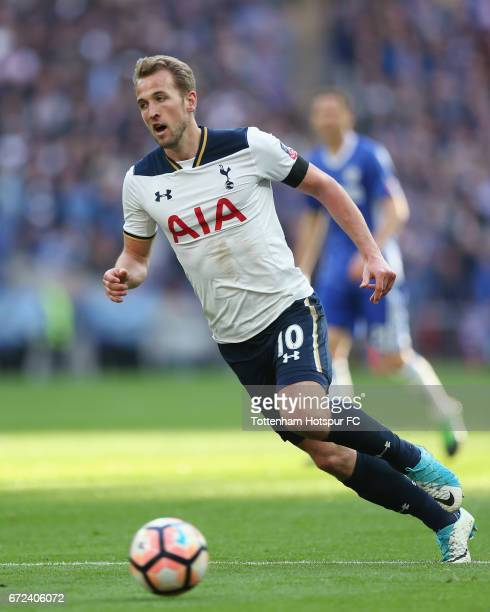 Harry Kane of Tottenham during the Emirates FA Cup SemiFinal match between Tottenham Hotspur and Chelsea at Wembley Stadium on April 22 2017 in...