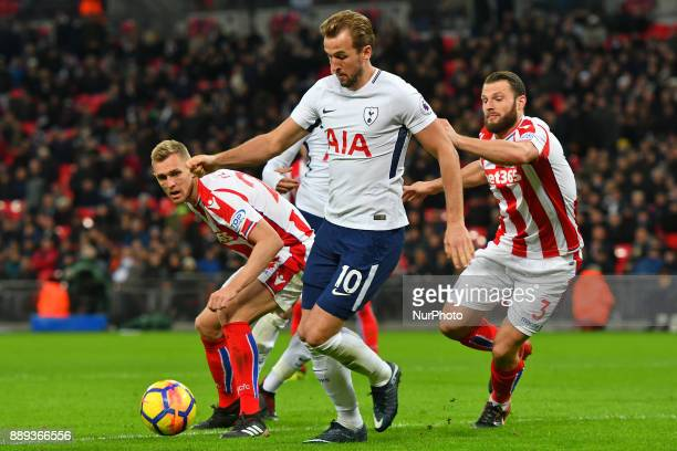 Harry Kane of Tottenham gets a shot in at goal during Premier League match between Tottenham Hotspur against Stoke City at Wembley stadium London...