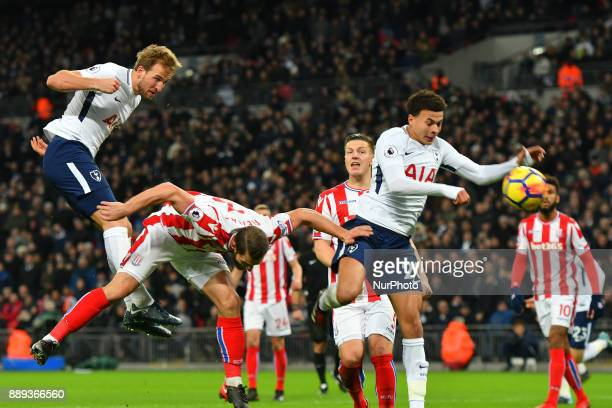 Harry Kane of Tottenham heads in a goal during Premier League match between Tottenham Hotspur against Stoke City at Wembley stadium London England on...