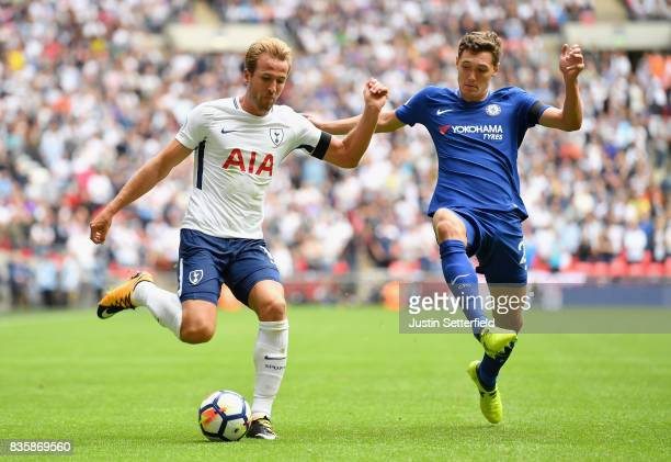 Harry Kane of Tottenham Hotspur and Andreas Christensen of Chelsea battle for possession during the Premier League match between Tottenham Hotspur...
