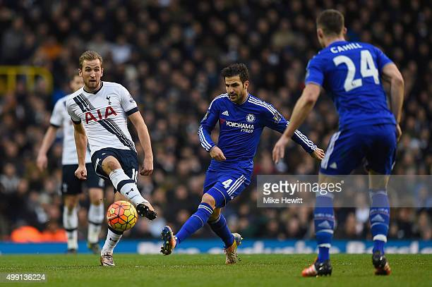 Harry Kane of Tottenham Hotspur and Cesc Fabregas of Chelsea in action during the Barclays Premier League match between Tottenham Hotspur and Chelsea...