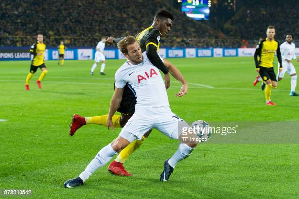 Harry Kane of Tottenham Hotspur and DanAxel Zagadou of Borussia Dortmund battle for the ball during the UEFA Champions League group H match between...