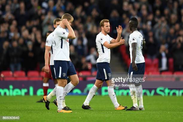 Harry Kane of Tottenham Hotspur and Davinson Sanchez of Tottenham Hotspur celebrate victory after the Premier League match between Tottenham Hotspur...