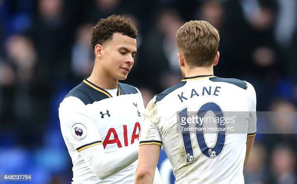Harry Kane of Tottenham Hotspur and Dele Alli of Tottenham Hotspur celebrate during the Premier League match between Tottenham Hotspur and Everton at...