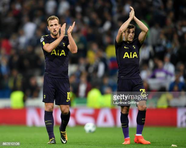 Harry Kane of Tottenham Hotspur and Harry Winks of Tottenham Hotspur show appreciation to the fans after the UEFA Champions League group H match...