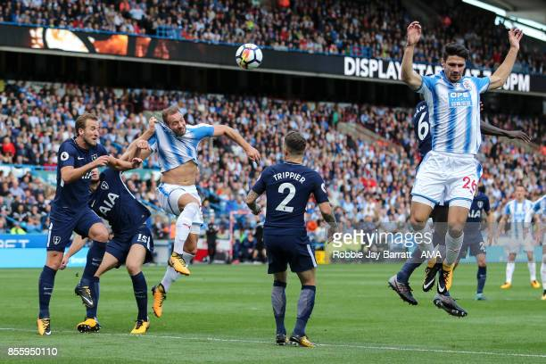 Harry Kane of Tottenham Hotspur and Laurent Depoitre of Huddersfield Town during the Premier League match between Huddersfield Town and Tottenham...