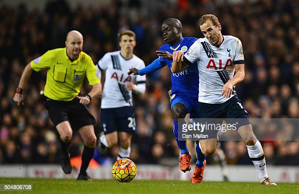 Harry Kane of Tottenham Hotspur and Ngolo Kante of Leicester City compete for the ball during the Barclays Premier League match between Tottenham...
