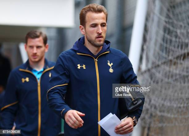 Harry Kane of Tottenham Hotspur arrives prior to the Premier League match between Crystal Palace and Tottenham Hotspur at Selhurst Park on April 26...