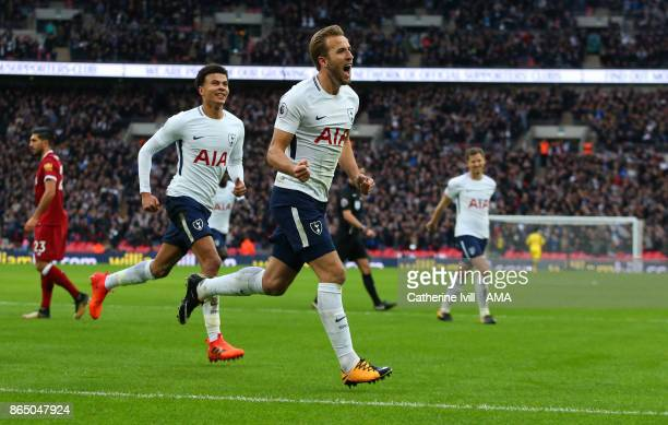 Harry Kane of Tottenham Hotspur celebrates after he scores a goal to make it 41 during the Premier League match between Tottenham Hotspur and...