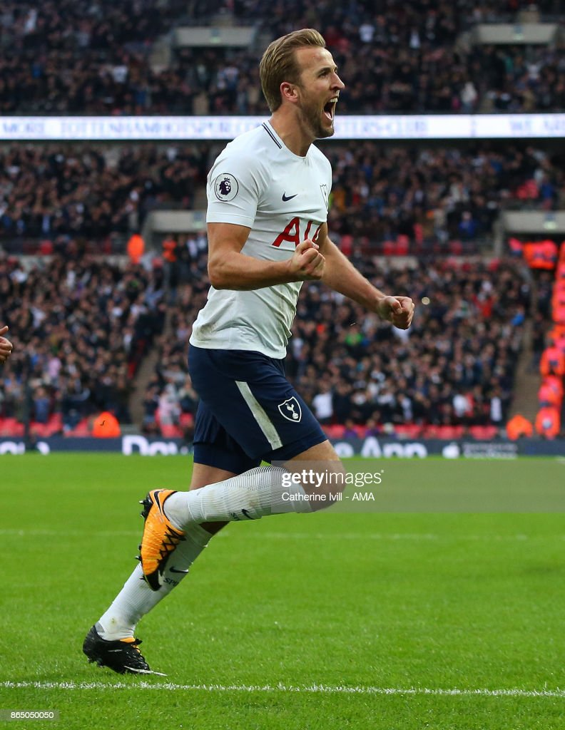 Harry Kane of Tottenham Hotspur celebrates after he scores a goal to make it 4-1 during the Premier League match between Tottenham Hotspur and Liverpool at Wembley Stadium on October 22, 2017 in London, England.
