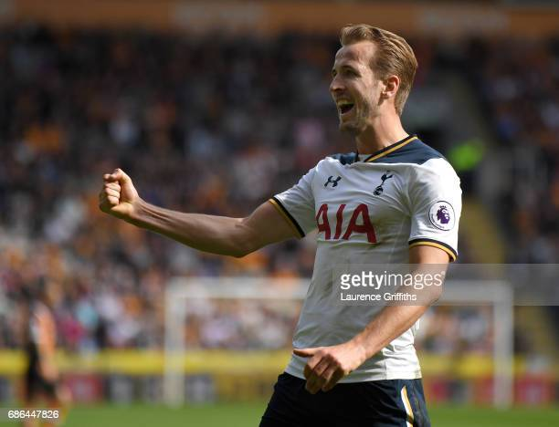 Harry Kane of Tottenham Hotspur celebrates after scoring a hattrick and winning the Premier League Golden Boot award during the Premier League match...