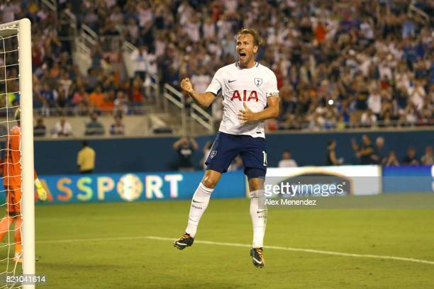 Harry Kane of Tottenham Hotspur celebrates after scoring on a penalty kick during the International Champions Cup 2017 match between Paris...