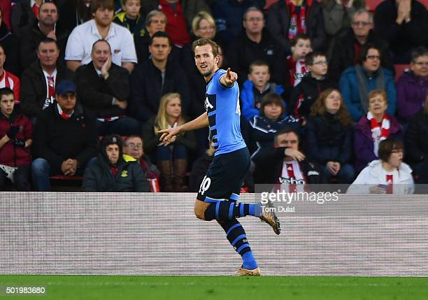 Harry Kane of Tottenham Hotspur celebrates as he scores their first goal during the Barclays Premier League match between Southampton and Tottenham...