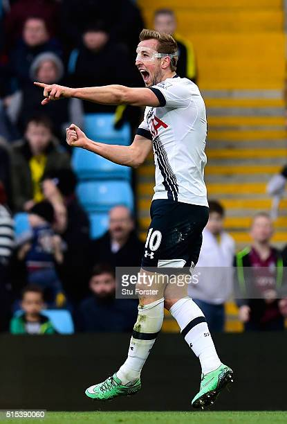 Harry Kane of Tottenham Hotspur celebrates as he scores their first goal during the Barclays Premier League match between Aston Villa and Tottenham...