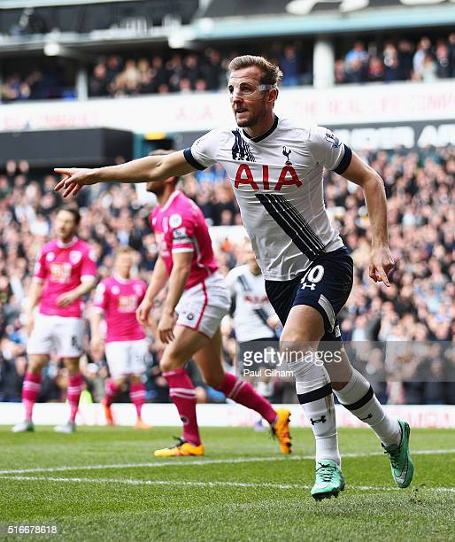 Harry Kane of Tottenham Hotspur celebrates as he scores their first goal during the Barclays Premier League match between Tottenham Hotspur and AFC...