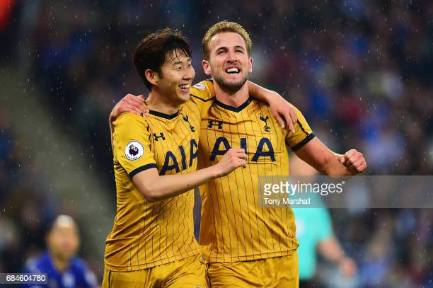 Harry Kane of Tottenham Hotspur celebrates as he scores their first goal with team mate HeungMin Son of Tottenham Hotspur during the Premier League...