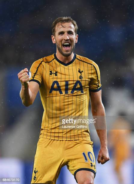 Harry Kane of Tottenham Hotspur celebrates as he scores their sixth goal and his fourth during the Premier League match between Leicester City and...