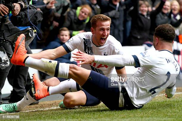 Harry Kane of Tottenham Hotspur celebrates his goal during the Barclays Premier League match between Tottenham Hotspur and Arsenal at White Hart Lane...