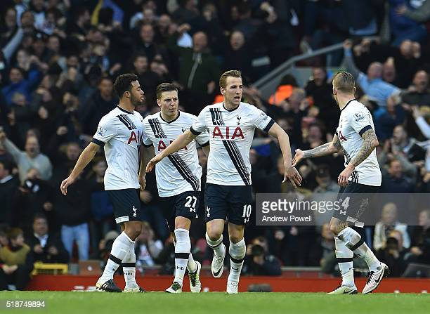 Harry Kane of Tottenham Hotspur celebrates his goal during the Barclays Premier League match between Liverpool and Tottenham Hotspur at Anfield on...