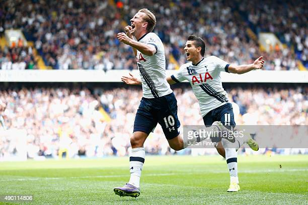 Harry Kane of Tottenham Hotspur celebrates scoring a goal as team mate Erik Lamela of Tottenham Hotspur follows during the Barclays Premier League...