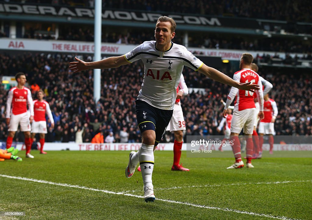 Harry Kane of Tottenham Hotspur celebrates scoring his goal during the Barclays Premier League match between Tottenham Hotspur and Arsenal at White Hart Lane on February 7, 2015 in London, England.