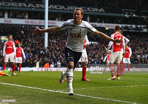Harry Kane of Tottenham Hotspur celebrates scoring his goal during the Barclays Premier League match between Tottenham Hotspur and Arsenal at White...