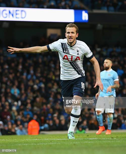Harry Kane of Tottenham Hotspur celebrates scoring his penalty during the Barclays Premier League match between Manchester City and Tottenham Hotspur...
