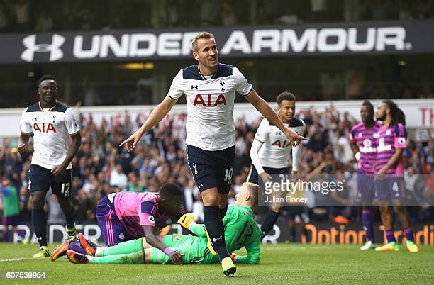 Harry Kane of Tottenham Hotspur celebrates scoring his sides first goal during the Premier League match between Tottenham Hotspur and Sunderland at...
