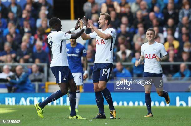 Harry Kane of Tottenham Hotspur celebrates scoring his sides first goal with Moussa Sissoko of Tottenham Hotspur during the Premier League match...