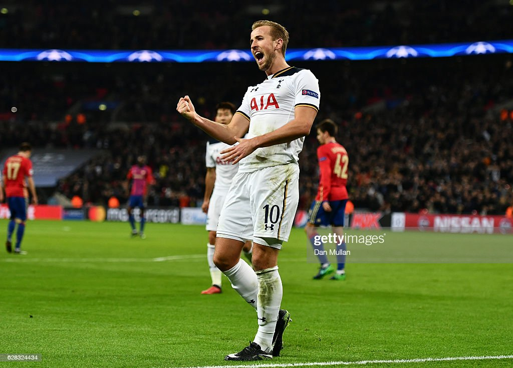 Harry Kane of Tottenham Hotspur celebrates scoring his sides second goal during the UEFA Champions League Group E match between Tottenham Hotspur FC and PFC CSKA Moskva at Wembley Stadium on December 7, 2016 in London, England.