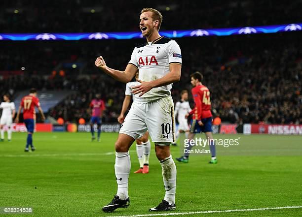 Harry Kane of Tottenham Hotspur celebrates scoring his sides second goal during the UEFA Champions League Group E match between Tottenham Hotspur FC...