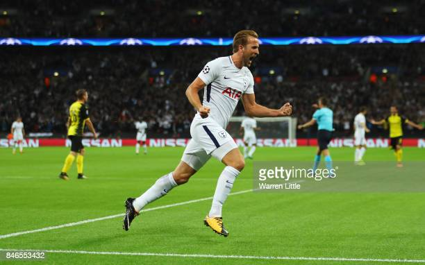 Harry Kane of Tottenham Hotspur celebrates scoring his sides second goal during the UEFA Champions League group H match between Tottenham Hotspur and...