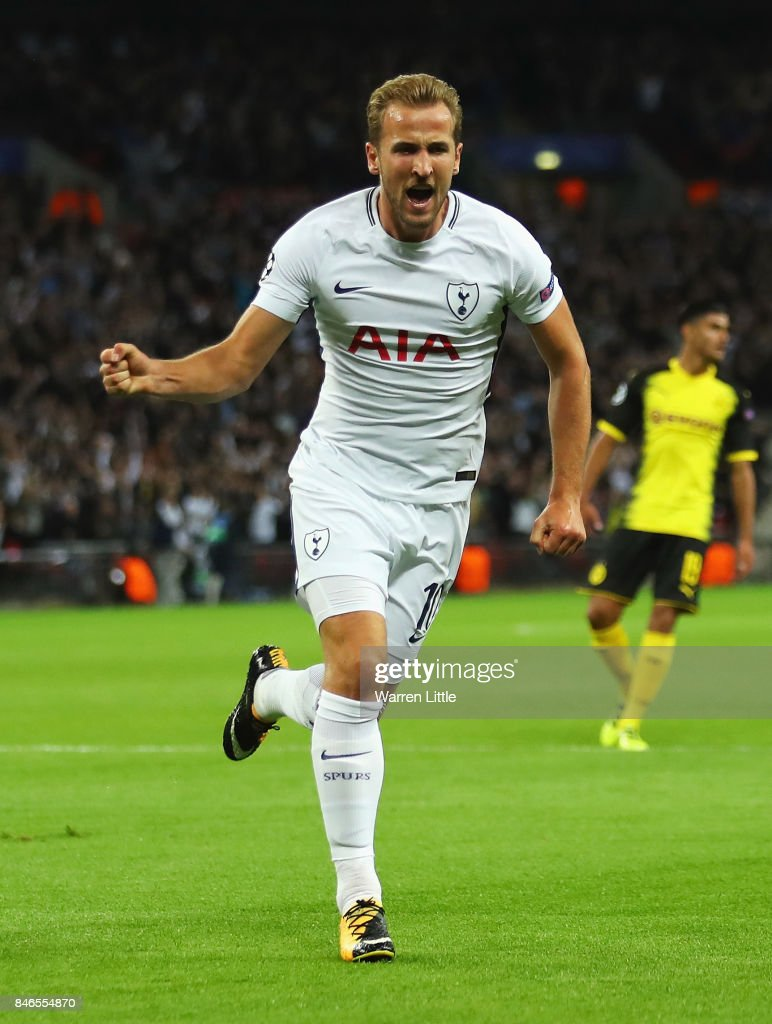 Harry Kane of Tottenham Hotspur celebrates scoring his sides second goal during the UEFA Champions League group H match between Tottenham Hotspur and Borussia Dortmund at Wembley Stadium on September 13, 2017 in London, United Kingdom.