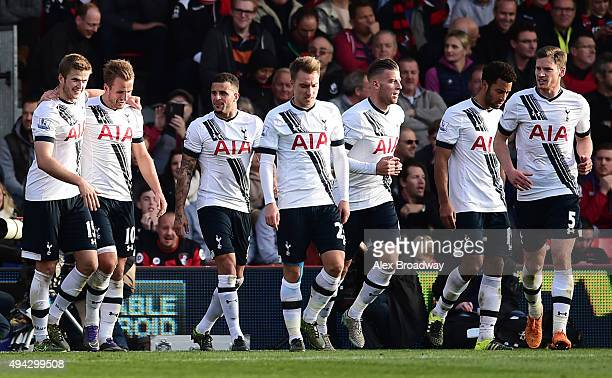 Harry Kane of Tottenham Hotspur celebrates scoring his team's fifth and hat trick goal with team mates during the Barclays Premier League match...