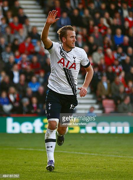 Harry Kane of Tottenham Hotspur celebrates scoring his team's fourth goal during the Barclays Premier League match between AFC Bournemouth and...