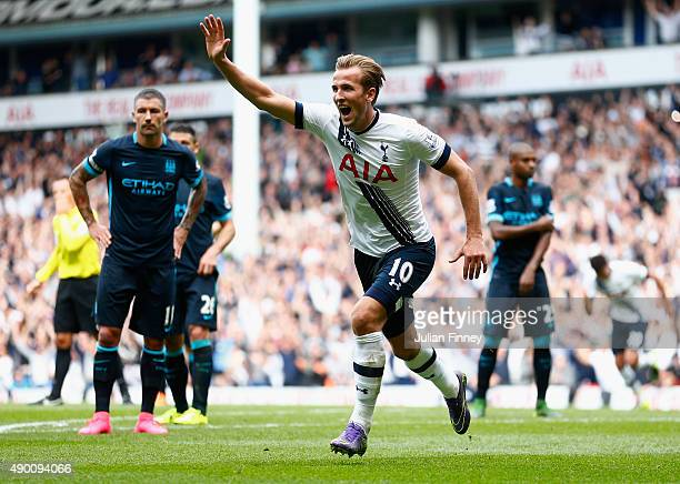 Harry Kane of Tottenham Hotspur celebrates scoring his team's third goal during the Barclays Premier League match between Tottenham Hotspur and...