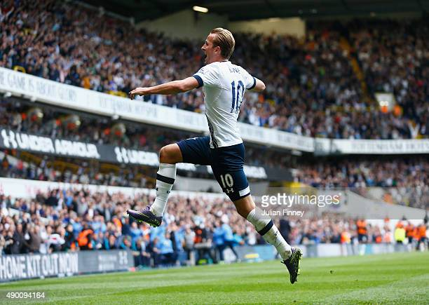 Harry Kane of Tottenham Hotspur celebrates scoring his team's third goal during the Barclays Premier League match between Tottenham Hotspur and...