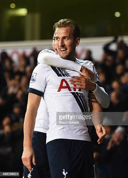 Harry Kane of Tottenham Hotspur celebrates scoring his teams third goal during the Barclays Premier League match between Tottenham Hotspur and West...