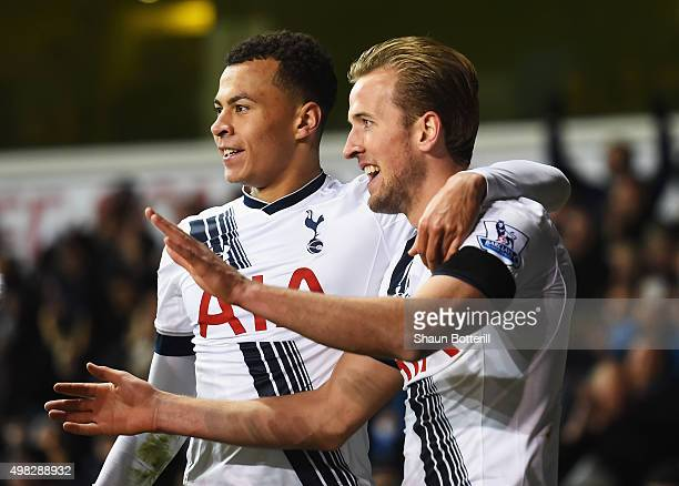 Harry Kane of Tottenham Hotspur celebrates scoring his teams third goal with Dele Alli of Tottenham Hotspur during the Barclays Premier League match...