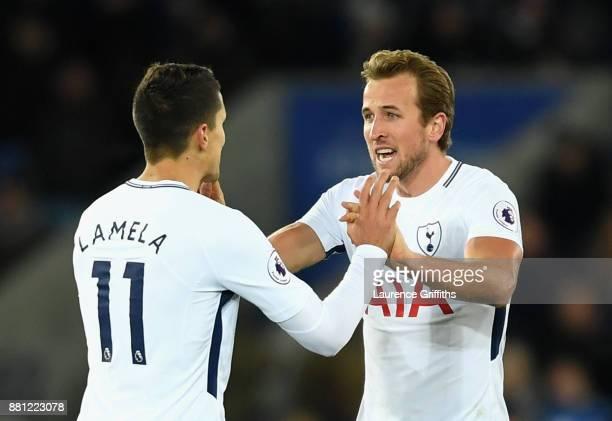 Harry Kane of Tottenham Hotspur celebrates scoring the 1st Tottenham goal with Erik Lamela of Tottenham Hotspur during the Premier League match...