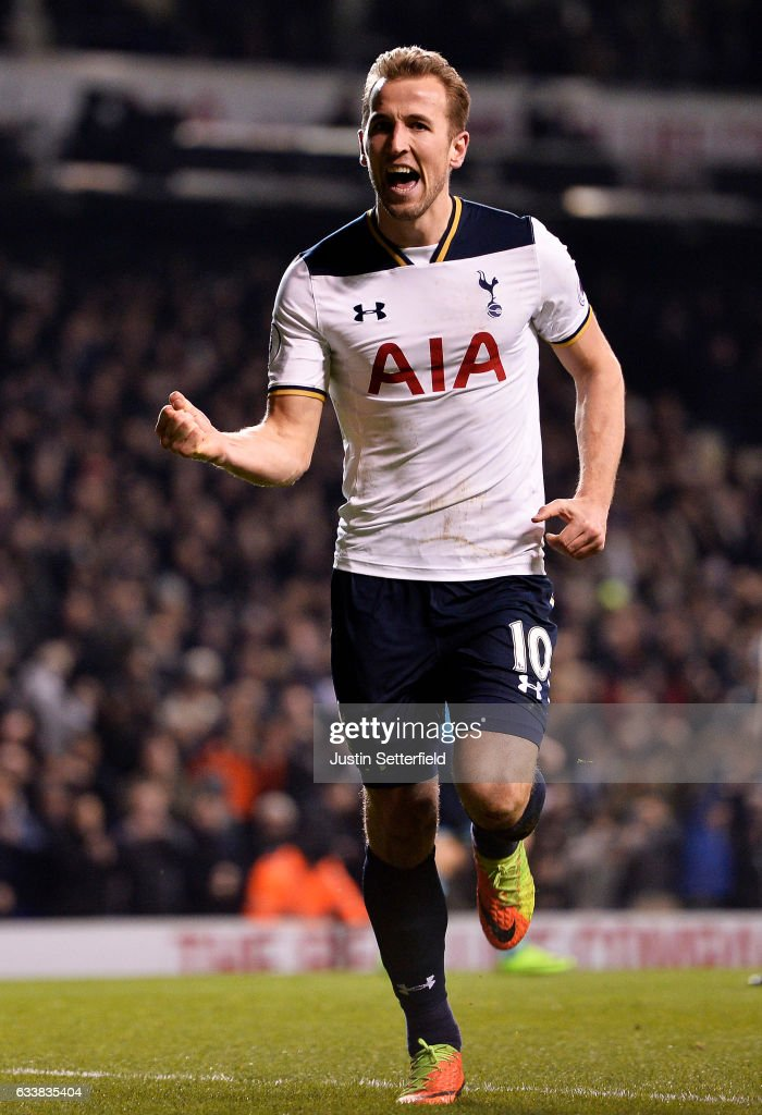 Harry Kane of Tottenham Hotspur celebrates scoring the first goal during the Premier League match between Tottenham Hotspur and Middlesbrough at White Hart Lane on February 4, 2017 in London, England.