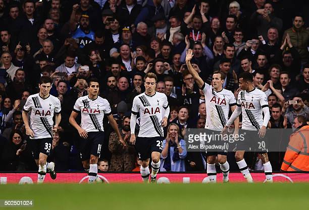 Harry Kane of Tottenham Hotspur celebrates scoring the opening goal from the penalty spot during the Barclays Premier League match between Tottenham...