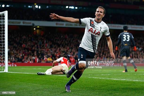 Harry Kane of Tottenham Hotspur celebrates scoring the openning goal during the Barclays Premier League match between Arsenal and Tottenham Hotspur...